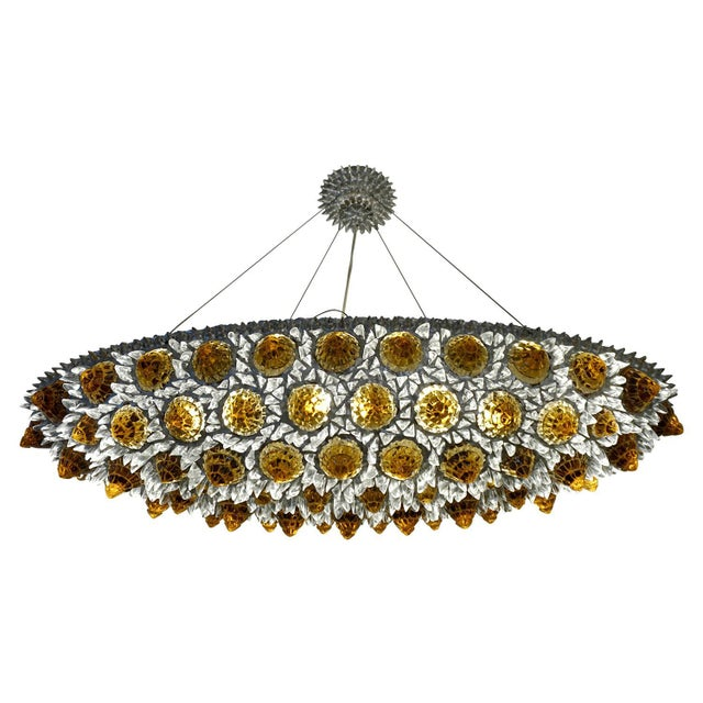 Not Yet Made - Made To Order Contemporary Italian Turquoise Blue & Clear Glass Oval Silver Flush / Chandelier For Sale - Image 5 of 13