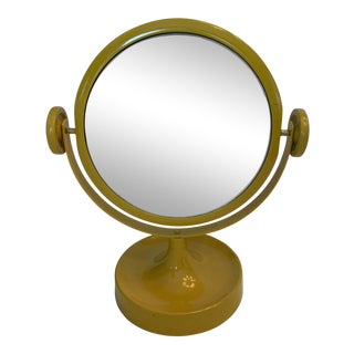 1970s Vintage Yellow Tabletop Mirror For Sale