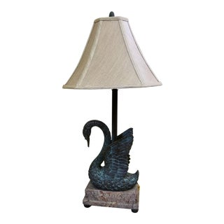 Theodore Alexander Bronze and Marble Swan Table Lamp For Sale
