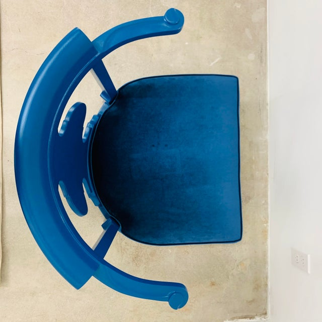 Asian Mid Century Chinoiserie Style Horseshoe Chairs Redefined in Klein Blue - a Pair For Sale - Image 3 of 12