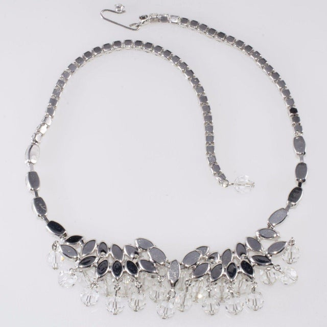 Mid-Century Modern Weiss Necklace Clear Navette Marquis Rhinestones Bead Dangles Vintage 1950s For Sale - Image 3 of 5