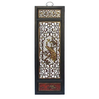 Chinese Flower Birds Red Black Golden Wood Wall Panel For Sale