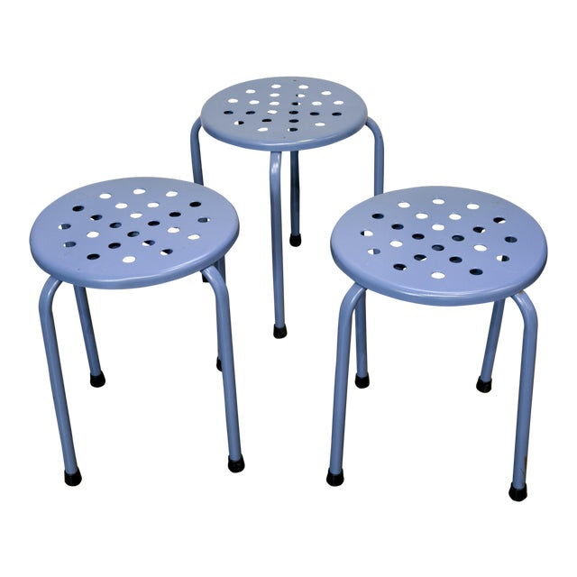 Circa 1960 Blue Mid-Century Modern Perforated Stools - Set of 3 - Image 1 of 3