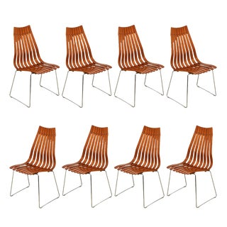 "Set of 8 Norwegian Modern ""Scandia"" Teak Dining Chairs by Hans Brattrud For Sale"