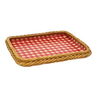 Mid-Century French Wicker Serving Tray For Sale