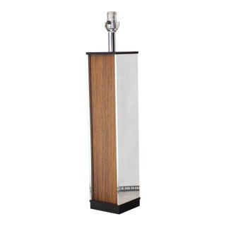 Rosewood and Chrome Square Pedestal Shape Table Lamp For Sale