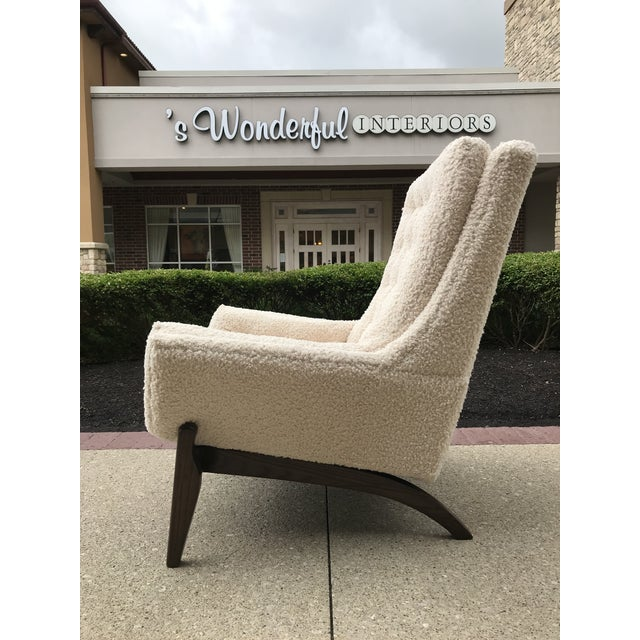 Wood Adrian Pearsell for Basset Mid-Century-Modern Lounge Chair Tufted Faux Fur Shearling For Sale - Image 7 of 10