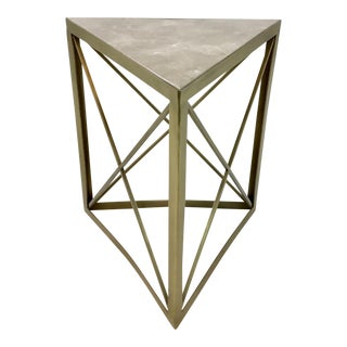 Contemporary Interlude Home Triad Metal and Stone Side Table For Sale