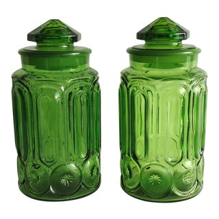 1970s Large Green Glass Cannisters- a Pair For Sale