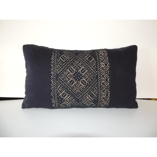 Late 19th Century Woven Black and Indigo Fez Textile Lumbar Decorative Pillow For Sale - Image 5 of 5