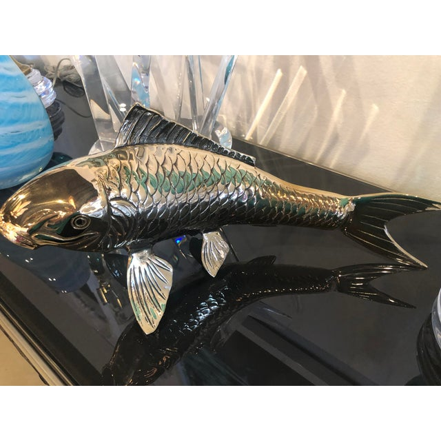 Vintage Polished Brass Koi Fish Statue For Sale - Image 10 of 11