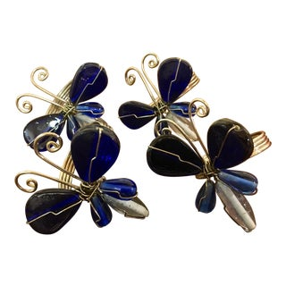 Mid Century Modern Butterfly Blue Glass & Silver Napkin Rings - Set of 4 For Sale
