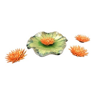 Global Views Free Formed Lily Plate with Orange Artisanal Glazed Ceramic Flowers - 5 Pieces For Sale