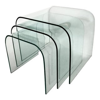1980s Italian Style Glass Waterfall Nesting Tables - Set of 3 For Sale