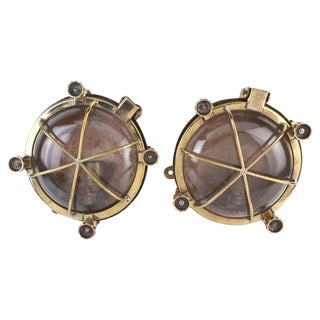 Ship's Nautical Brass Passageway Wall Lights, 1970s - a Pair For Sale