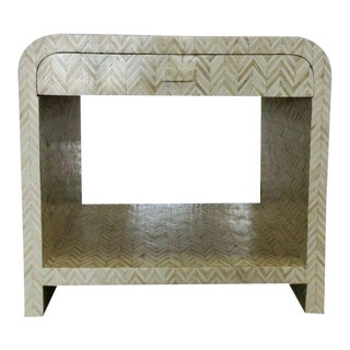 1970s Tessellated Bone Nightstand With Drawer For Sale