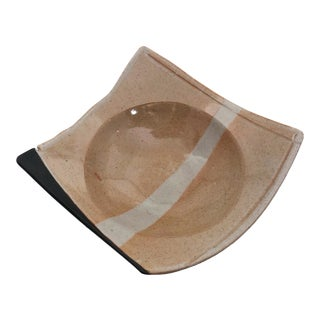 Don Williams Angular Studio Pottery Shallow Bowl, Signed For Sale