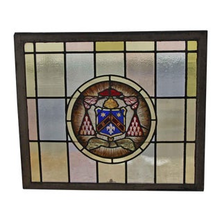 Vintage Mid Century Sash Stained Glass Window For Sale