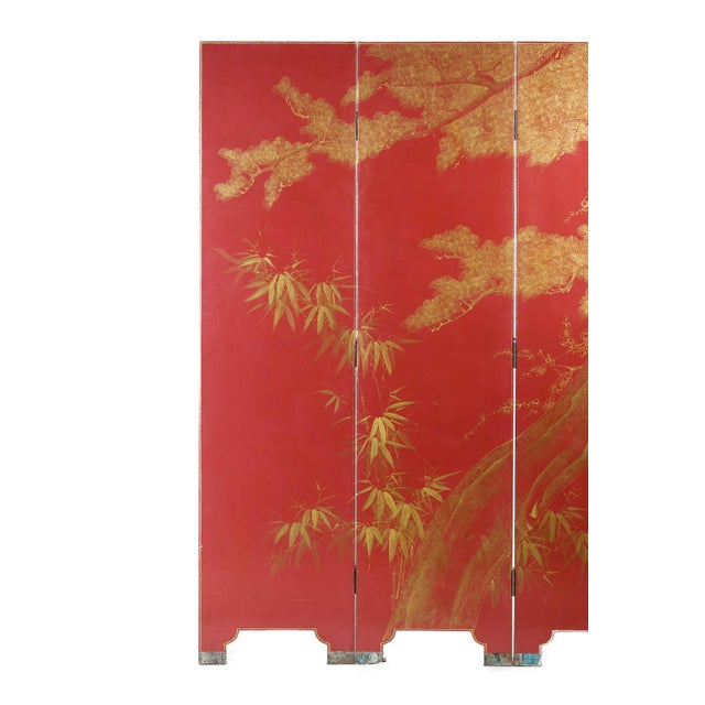 2010s Double-Sided Leather Burgundy Red Wisteria Scene Room Divider Screen by Lawrence & Scott For Sale - Image 5 of 13