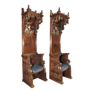 Pair of Antique Gothic Walnut Wood Cathedral Chairs From France For Sale