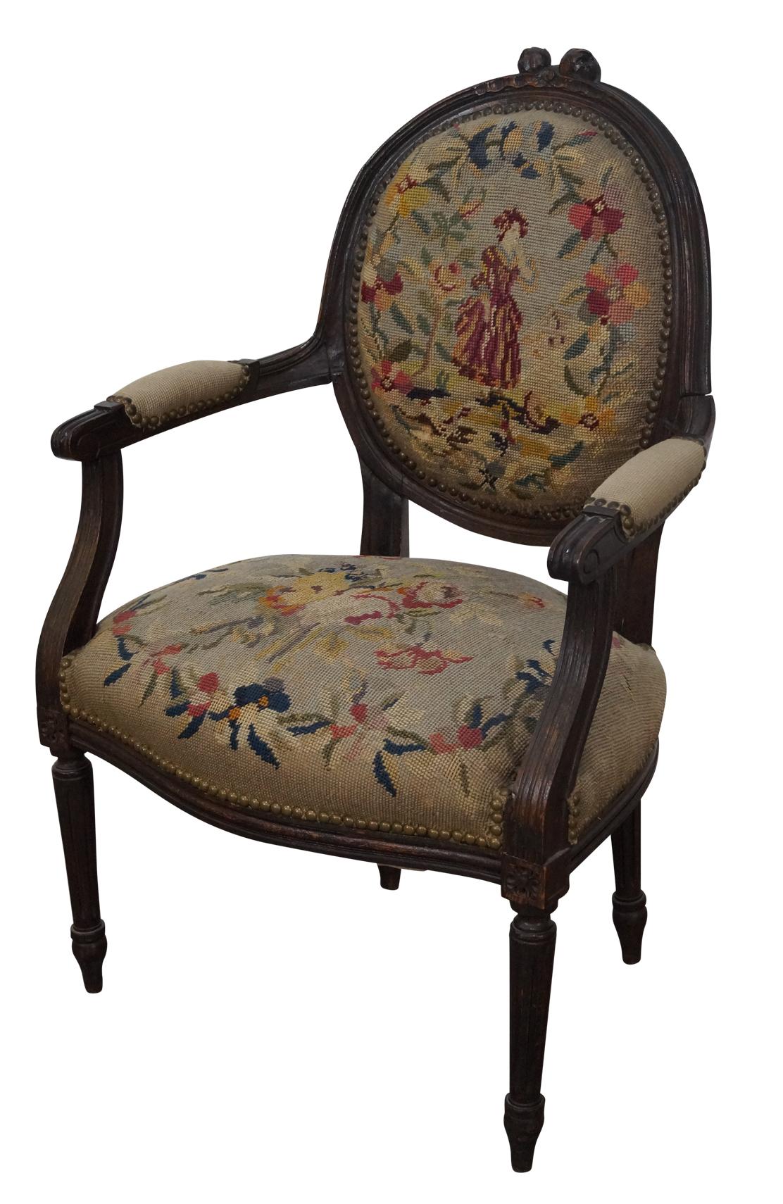 Nice Antique 19th Century Louis XV Needlepoint Chair