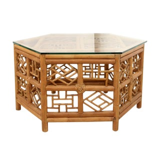 1970s Chinoiserie Hexagonal Bamboo Coffee Table For Sale