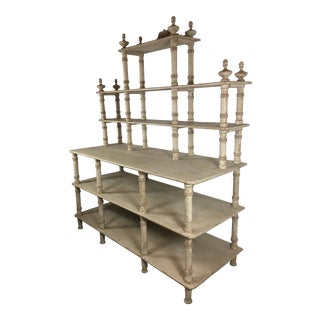 Monumental French Contry Style Painted Shelving For Sale