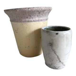 Rustic Pottery Planters - A Pair For Sale
