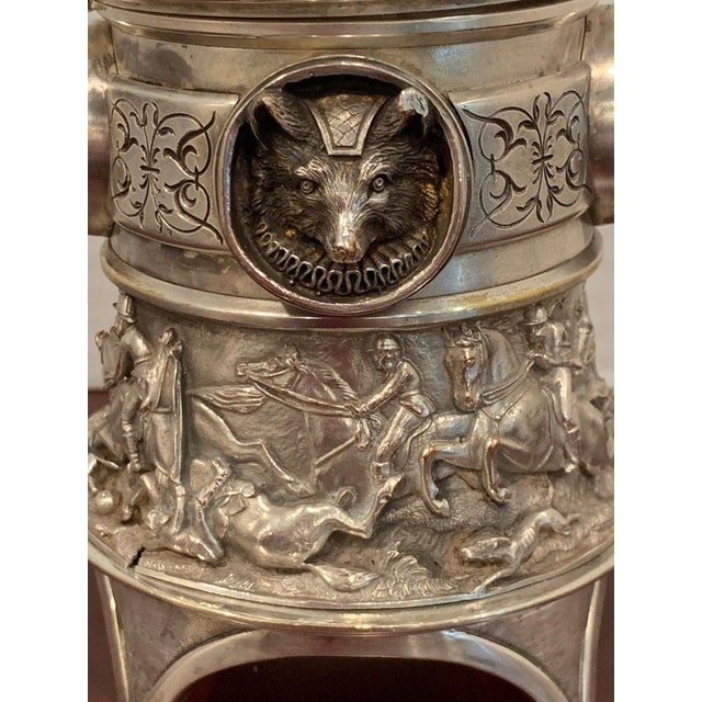 Antique English Silver Plated Equestrian Inkwell, With Dogs & Foxes For Sale - Image 11 of 13