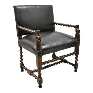 Italian Renaissance Figural Spiral Carved Barley Twist Walnut Throne Arm Chair For Sale