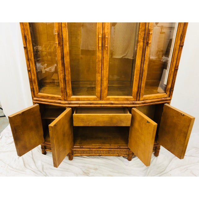 Vtg Faux Bamboo & Wicker Hutch For Sale - Image 10 of 13