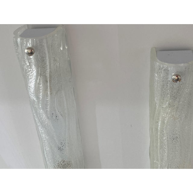 Vintage Modern Ice Glass Sconces - a Pair For Sale - Image 11 of 13