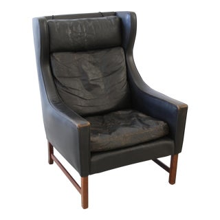 1960s Vintage Cabinetmaker Leather Wingback Lounge Chair For Sale