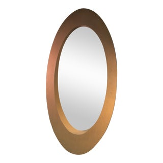 MONUMENTAL PAIR OF 1970S ELLIPTICAL WOOD MODERN MIRRORS For Sale