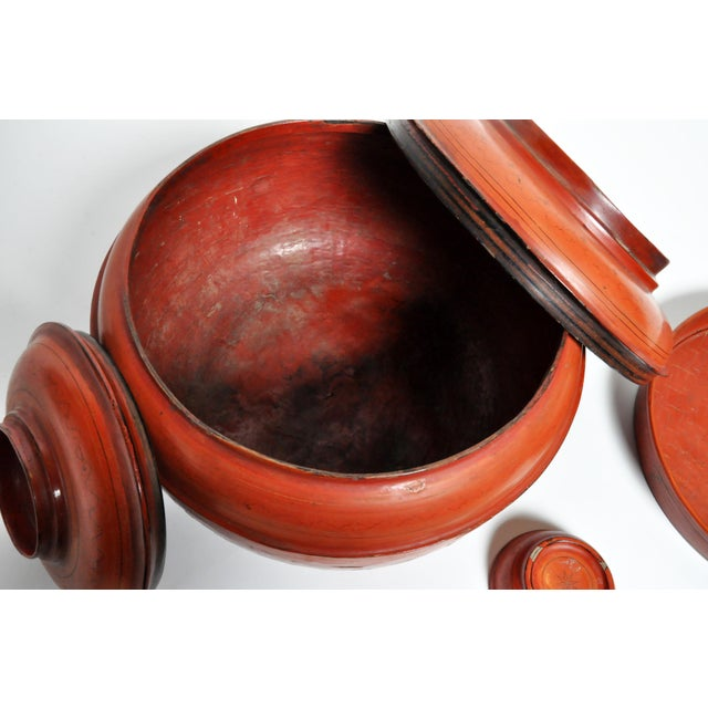 Red Burmese Red Lacquer Offering Urn For Sale - Image 8 of 13