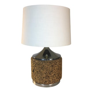 1960s Cork & Chrome Table Lamp For Sale