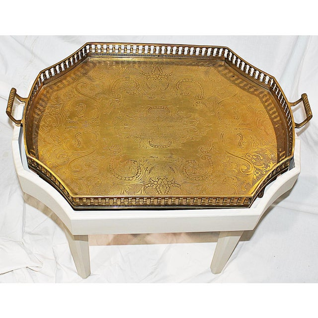 Ivory Chinoiserie-Style Brass Tray Cocktail Table For Sale - Image 4 of 7