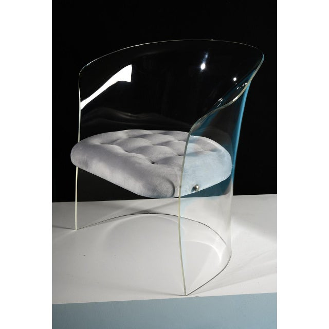 Metal Vladimir Kagan 1960s Formed Lucite Chair With Tufted Seat For Sale - Image 7 of 8