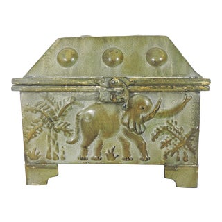 Vintage Anglo Indian Elephant Metal Box or Chest For Sale