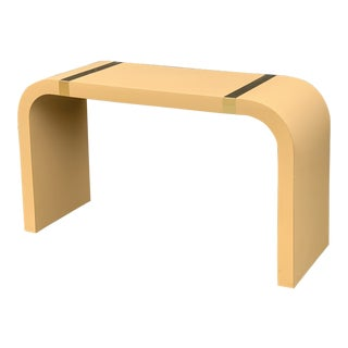 1980s Postmodern Brass and Laminate Waterfall Console Table For Sale