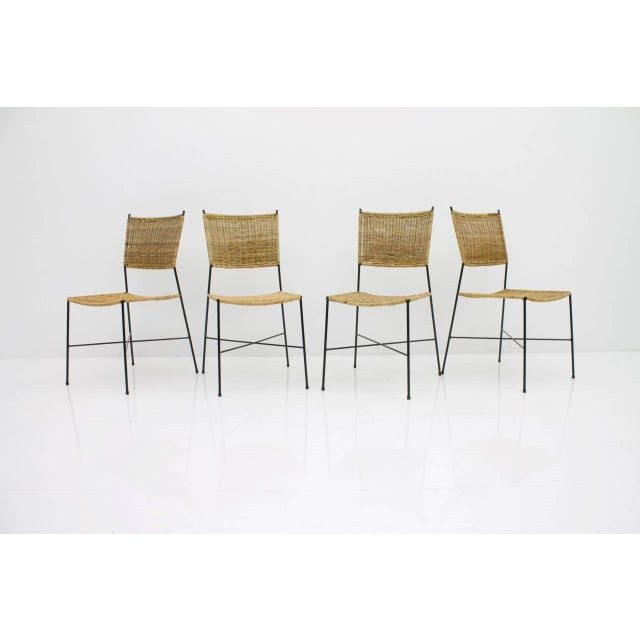Set of Four Dining Room Chairs in Wicker and Metal, Germany, 1960s For Sale - Image 12 of 12