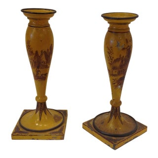 19th Century French Tole Candlesticks - a Pair For Sale