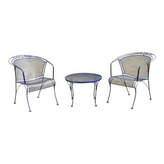 Woodard Barrel Back Blue Wrought Iron Rose Pattern Garden Arm Chairs & Table Set For Sale
