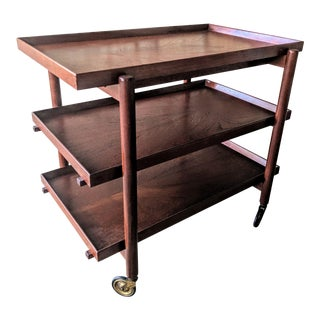 1960s Danish Modern Rosewood Bar Cart By Poul Hundevad For Sale