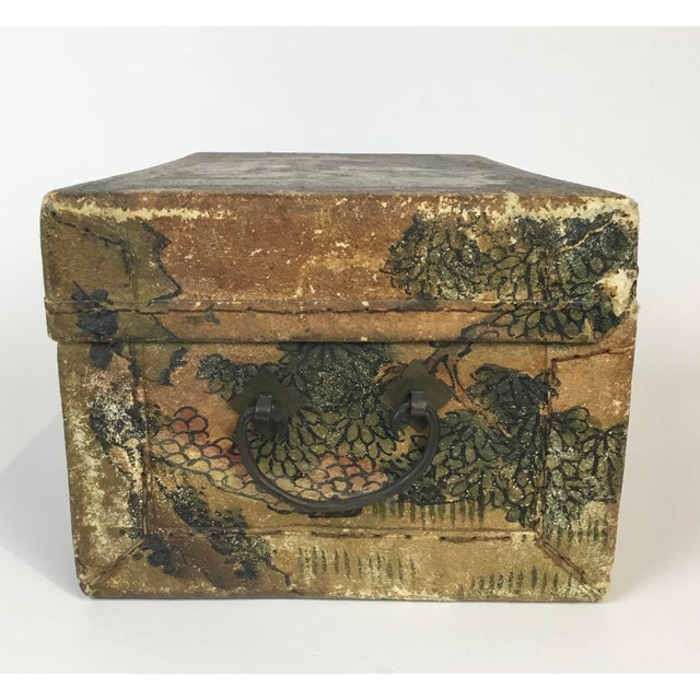 19th C. Asian Hand Painted Hide Box For Sale - Image 4 of 12