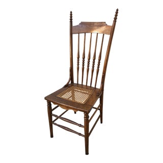 Antique Primitive Cane and Wood Chair For Sale