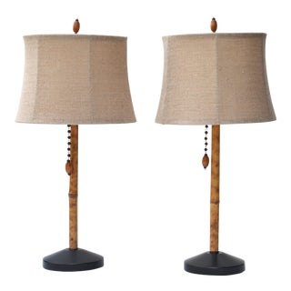 Vintage Bamboo Lamp Pair For Sale