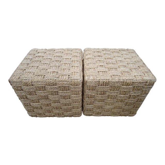 Pair of Palecek Spa Hassock Rattan Weave Ottoman / Side Table - Image 1 of 5