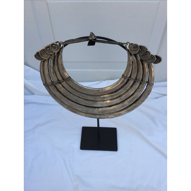 Vintage Tribal Metal Necklace on Stand - Image 7 of 7