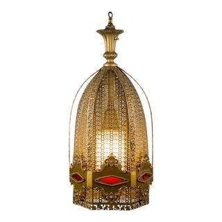 1920's Moorish Brass Chandelier For Sale